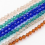Half-Handmade Transparent Glass Beads Strands, Bicone, Mixed Color, 4mm, Hole: 1mm; about 70pcs/strand, 10.63