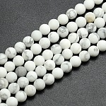 Frosted Howlite Round Bead Strands, 8mm, Hole: 1mm; about 47~49pcs/strand, 14.9~15.6