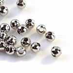 Iron Spacer Beads, Round, Platinum, 4mm, Hole: 1.5mm