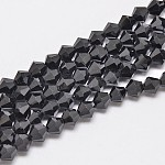 Imitate Austrian Crystal Bicone Glass Beads Strands, Grade AA, Faceted, Black, 6x6mm, Hole: 1mm; about 50pcs/strand, 10.5