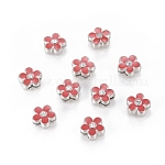 Rhinestone Alloy Slide Charms, Lovely Floating Charms, Flower, Platinum Color, Red, 11x5.5mm, Hole: 8x1.5mm