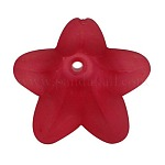 Red Frosted Transparent Acrylic Flower Beads, about 16mm in diameter,12mm thick, hole: 1.5mm