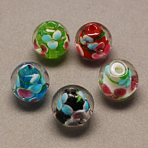 Handmade Lampwork Beads, Round, Mixed Color, 10mm, Hole: 2mm