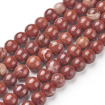 Natural Red Jasper Beads Strands, Round, Grade AB, Red, 6mm, Hole: 1mm; about 65pcs/strand, 15.5inches
