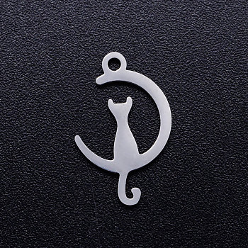 201 Stainless Steel Kitten Pendants, Crescent Moon with Cat Shape, Stainless Steel Color, 17.5x11x1mm, Hole: 1.5mm