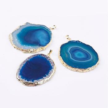 Естественно агат большие кулоны, с латунной фурнитурой , самородки, золотые, Плут синий, 59~91x32~65x3~6 мм, отверстие : 5x7 мм