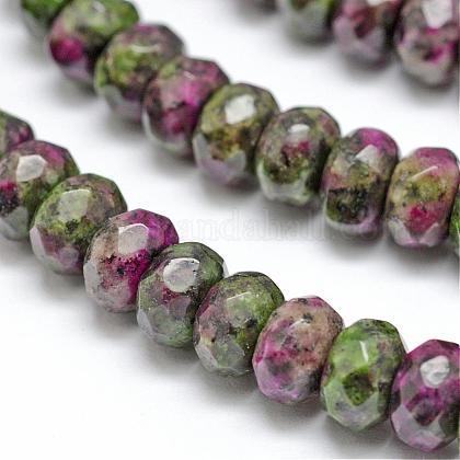 Faceted Natural Ruby in Zoisite Rondelle Beads StrandsG-K090-04-1