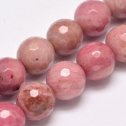 Facetas de rodocrosita naturales hebras de perlas redondasG-M289-02-8mm-1