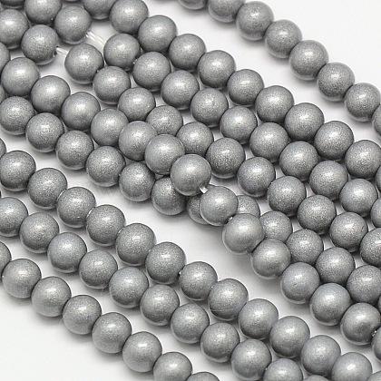 Environmental Round Baking Paint Glass Beads StrandsHY-A003-4mm-RV47-1
