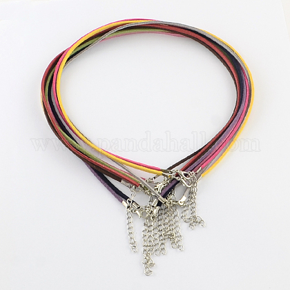 2mm Faux Suede Cord Necklace Making with Iron Chains & Lobster Claw ClaspsNCOR-R029-M-1