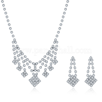 Shining Brass Rhinestone Wedding Bride Jewelry Sets SJEW-BB15888-1