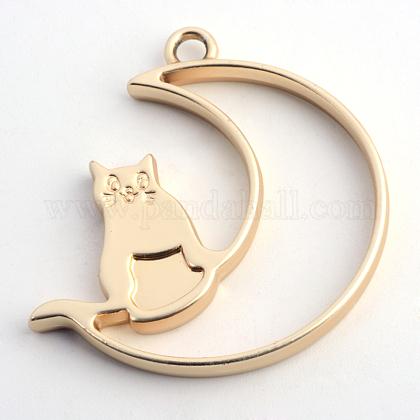 マットスタイルラックメッキ合金子猫オープンバックベゼルペンダントPALLOY-S047-38C-FF-1