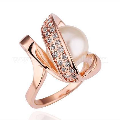 Anillos de dedo de perlas de imitación redondos de aleación de estaño ecológicos chapados en oro rosa real para fiestaRJEW-BB14344-6RG-1