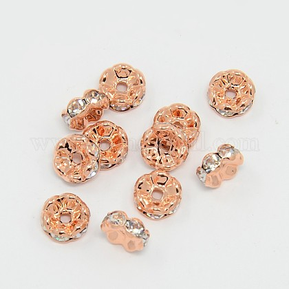 Brass Rhinestone Spacer Beads RB-A014-L8mm-01RG-NF-1