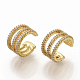 Brass Micro Pave Clear Cubic Zirconia Cuff Earrings EJEW-S208-002-3
