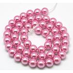Экологические окрашенные стеклянные жемчужные круглые бусины, хлопковый шнур , жемчужно-розовые, 10 мм, Отверстие : 0.7~1.1 мм; около 42 шт / нитка, 15 дюйм