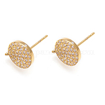 Brass Micro Pave Cubic Zirconia Stud Earring Findings, with Loop, Lead Free & Cadmium Free, Long-Lasting Plated, Flat Round, Clear, Golden, 11.5x9.5x2mm, Hole: 1mm; Pin: 0.7mm