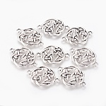 Tibetan Style Alloy Links connectors, Flat Round Knot, Cadmium Free & Nickel Free & Lead Free, Antique Silver, 29x20x2mm, Hole: 2mm; about 530pcs/1000g