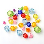 Transparent Acrylic Beads, Vary in shapes and color, Size: about 8~20mm long, hole: 2~3mm; about 500g/bag