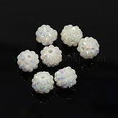 Abalorios de resina de Diamante de imitación, color de ab, redondo, blanco, 12x10mm, agujero: 2 mm