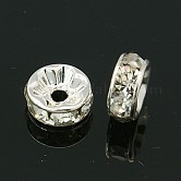 Brass Grade A Rhinestone Spacer Beads, Rondelle, Silver Color Plated, 8x3.8mm, Hole: 1.5mm