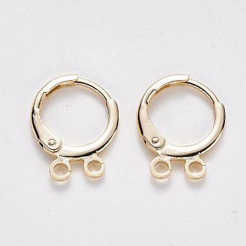 Brass Huggie Hoop Earring Findings, Nickel Free, with Loop, Real 18K Gold Plated, 14.5x11.5x2mm, Hole: 1.5mm; Pin: 0.8mm