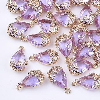 クリアガラスペンダント  DIYのジュエリーには  真鍮パーツ  多面カット  ティアドロップ  花と  ライトゴールド  紫色のメディア  16x9x6mm  穴:1.2mm