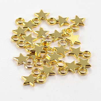 Tibetan Style Stamping Blank Tag Charms Pendants, Christmas Star, Lead Free, Golden, 10x8x1mm, Hole: 2mm