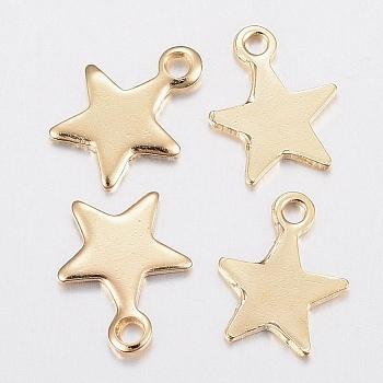 304 charms in acciaio inox, stella, oro, 10x8x1mm, Foro: 1.2 mm