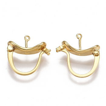 Brass Leverback Earring Findings, with Loop, Real 18K Gold Plated, 16x14.5x5mm, Hole: 0.8mm; Pin: 0.8mm