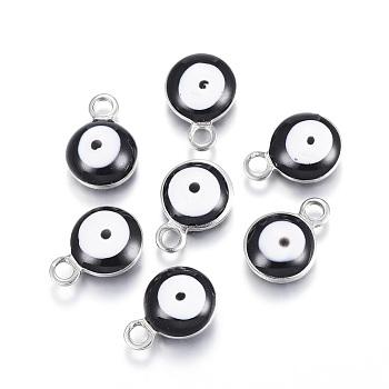 304 из нержавеющей стали шармы эмали, плоские круглые с сглаза, цвет нержавеющей стали, чёрные, 8.5x6x4 мм, отверстие : 1 мм