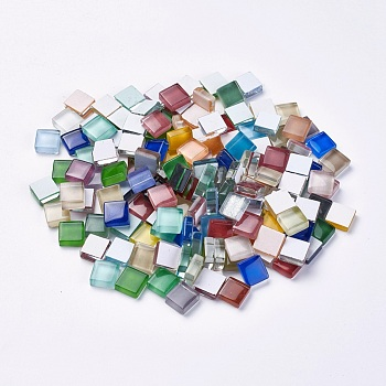 Glass Cabochons, Mosaic Tiles, for Home Decoration or DIY Crafts, Square, Mixed Color, 9.5~10x9.5~10x4mm; about 1010pcs/1000g