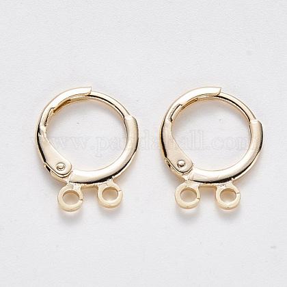 Brass Huggie Hoop Earring FindingsX-KK-T049-15G-NF-1