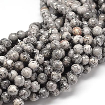 天然中国銀箔ジャスパー/マップストーンビーズ連売りG-P075-15-6mm-1