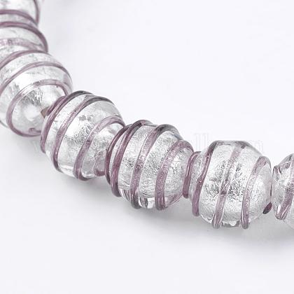 手作りの銀箔ガラスランプワークビーズFOIL-G027-01C-1