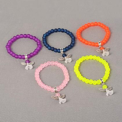 Cuentas de vidrio esmerilado elásticas para niños pulseras con dijes para el día de los niñosBJEW-JB01769-1