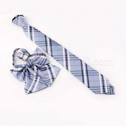Conjunto de corbatas y corbatas con cremallera y lazo de poliéster ajustable para mujer de estilo preppyAJEW-WH0113-29A-1