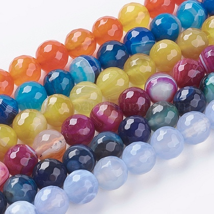 Faceted Round Dyed Natural Striped Agate/Banded Agate Beads Strands, Mixed Color, 10mm, Hole: 1.2mm; 38pcs/strand, 15inches G-G581-10mm-M