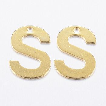 Encantos de 304 acero inoxidable, letter.s, dorado, 11x8.5x0.8mm, agujero: 1 mm