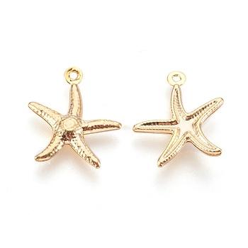 Colgantes de 304 acero inoxidable, Estrella de mar / estrellas de mar, dorado, 17.5x15.5x2mm, agujero: 1 mm