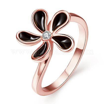 Real Rose Gold Plated Tin Alloy Czech Rhinestone Flower Rings for WomenRJEW-BB03665-8B-1
