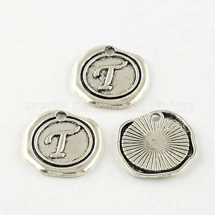 Flat Round Tibetan Style Alloy Letter Pendants X-TIBEP-R344-T-RS-1