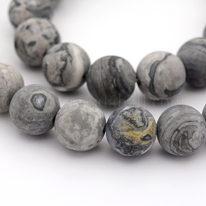Frosted Natural Map Stone/Picasso Stone/Picasso Jasper Round Bead StrandsG-M272-08-10mm-1