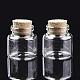 Botellas de vidrio frasco de vidrio grano contenedores, con tapón de corcho, deseando botella, Claro, 30x30mm, agujero: 17 mm; capacidad: 21ml (0.71 fl. oz)
