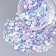 Accesorios del ornamento, paillette plástico pvc / cuentas de lentejuelas, sin agujero / perlas sin perforar, formas mixtas, color mezclado, 1.5~6.5x1.5~8x0.4~0.7mm