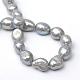 Hebras de perlas ovaladas de agua dulce cultivadas naturalesPEAR-R015-28-2