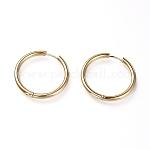 304 Stainless Steel Huggie Hoop Earrings, Hypoallergenic Earrings, Thick Hoop Earrings, Ring, Golden, 9 Gauge, 30.5x3mm, Pin: 1mm