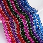 Chapelets de perles en verre peint, facette, rondelle, couleur mixte, 10x8mm, trou: 1.5mm; environ 67 pcs/chapelet, 19.72