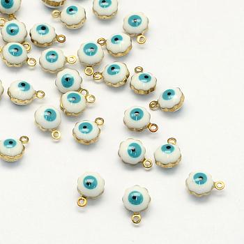 Tono de oro charms del esmalte de bronce, lentejuelas esmaltadas, flor con ojo, blanco, 9x7x5mm, agujero: 1 mm