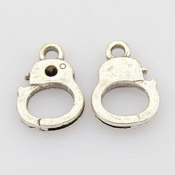 合金チャーム  カドミウムフリー&鉛フリー  警察  アンティークシルバー  長さ14mm  10 mm幅  厚さ2mm  穴:1.5mm